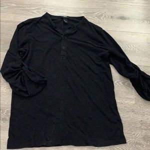 Black H&M Quarter Sleeve Button Shirt